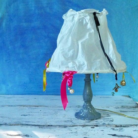Image of Vintage Bejeweled Paper and Metal Lamp