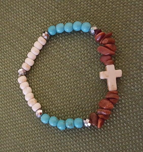 Image of Natural Magnasite Cross Stretch Bracelet