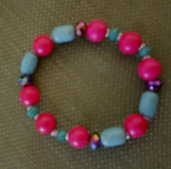 Image of Hot Pink and Turquoise Colored Magnasite Stretch Bracelet