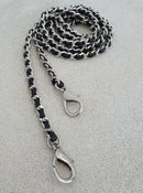Image of Extra Petite NICKEL Chain Strap with Leather Weave - Mini Classy Curb Diamond Cut - Choose Option