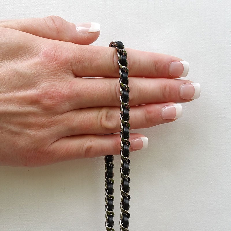 Image of Extra Petite GUNMETAL Chain Strap with Leather Weave - Mini Classy Curb Diamond Cut - Choose Option