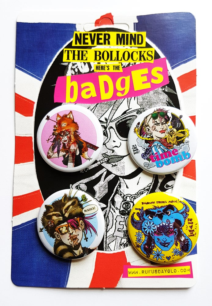 Image of Rufus Dayglo Badge Pack One