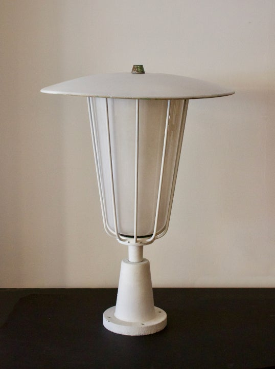 Image of Large Garden Lantern with Opaline Glass Shade