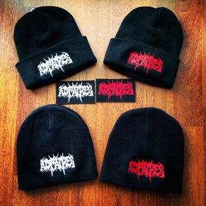 Image of Embroidered patches and beanies