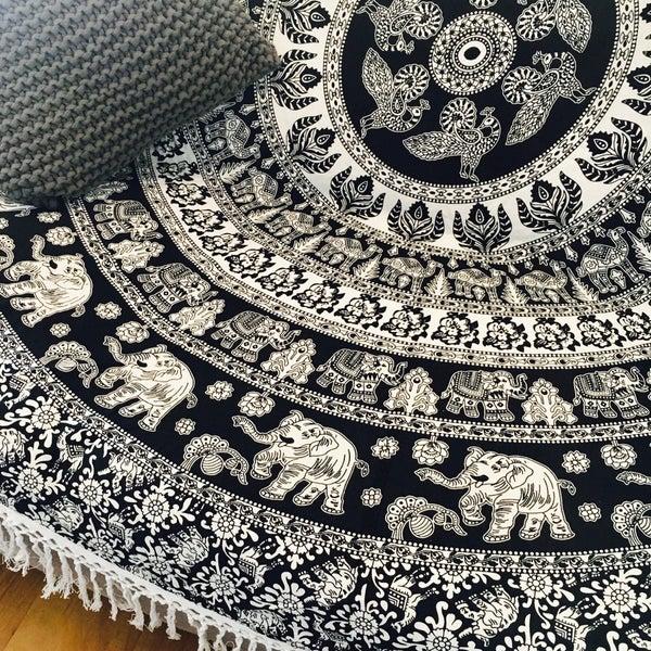 Image of Large Monochrome Elephant Roundie  Kosmo Tapestry 