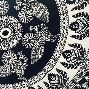 Image of Large Monochrome Elephant Roundie |Kosmo Tapestry|