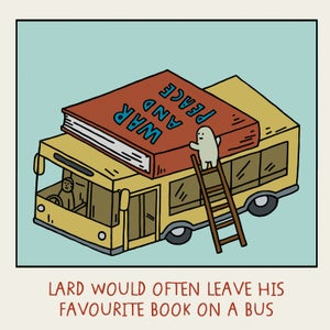 Image of GREETINGS CARD - 'Book on a Bus'