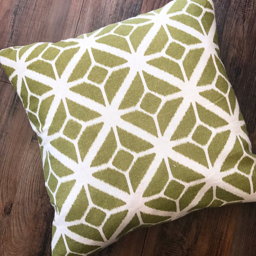 Image of Geometric Mono Print Cushion in Sage Green 45x45cm