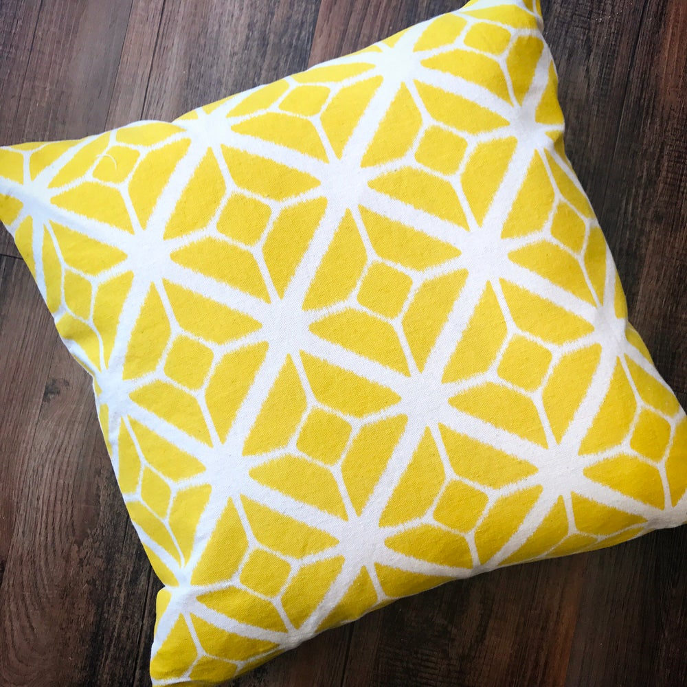 Image of Geometric Mono Print Cushion in Mustard Yellow 45x45cm