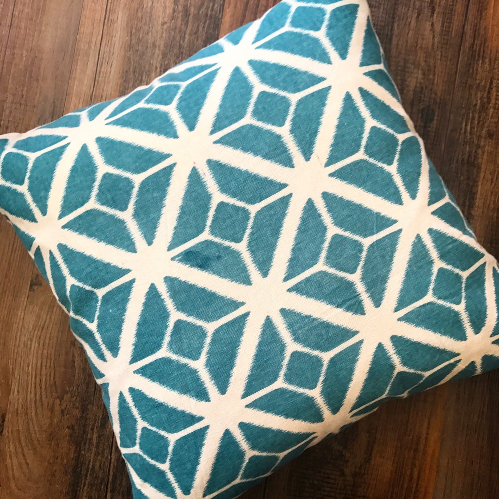Image of Geometric Mono Print Cushion in Teal Blue 45x45cm