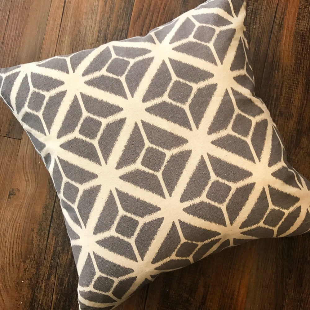 Image of Geometric Mono Print Cushion in Grey 45x45cm