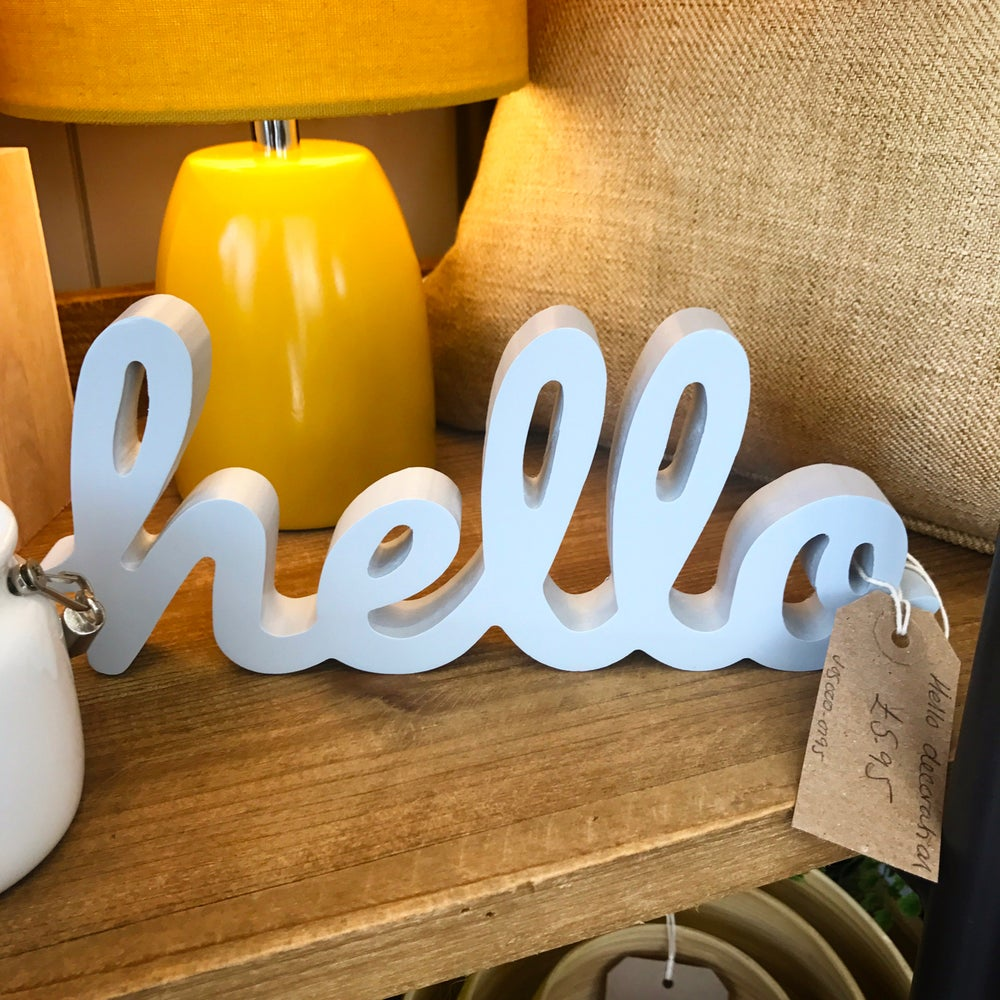 Image of Hello Wooden Shelf Decoration in Grey Script