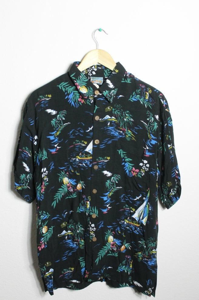 Image of Black Hawaiian Shirt