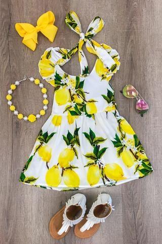 Image of Yellow Lemon Summer Halter Dress, toddler, girl, photos, picnics, parties, sister sets