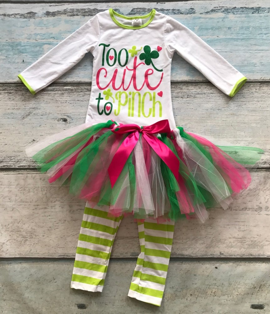 Image of St. Patrick's Day TOO CUTE TO PINCH legging set, baby, toddler, girl