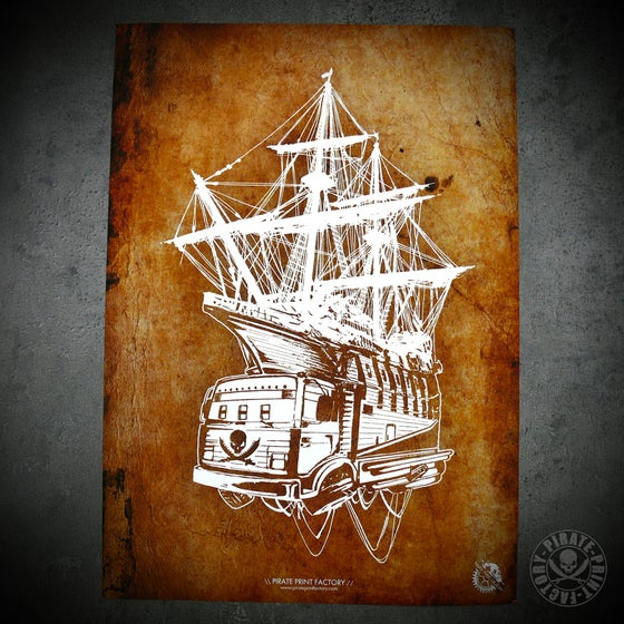 Image of Print Pirate Boat Old Paper