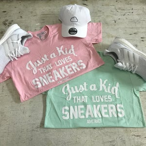 "Image of JUST A KID THAT LOVES SNEAKERS ""PINK, LIGHT BLUE, TAN, OR MINT"" T-SHIRT"