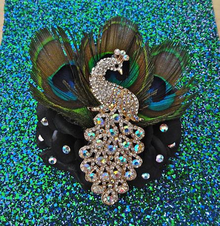 Image of Peacock Fantasy Showgirls Delight Hair Flower - Rose - Black