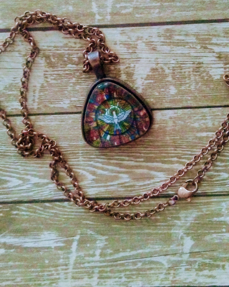 stained holy product chain flower image glass pendant with spirit little of workshop