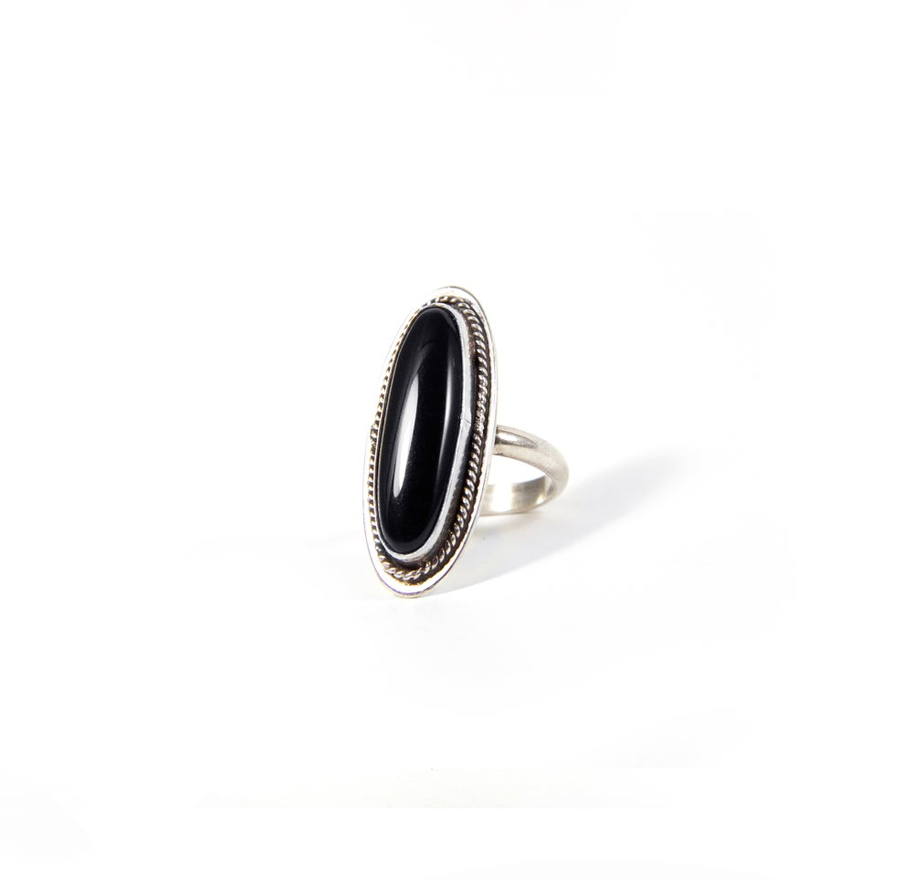 Image of Onyx Oval Statement Ring Size 7