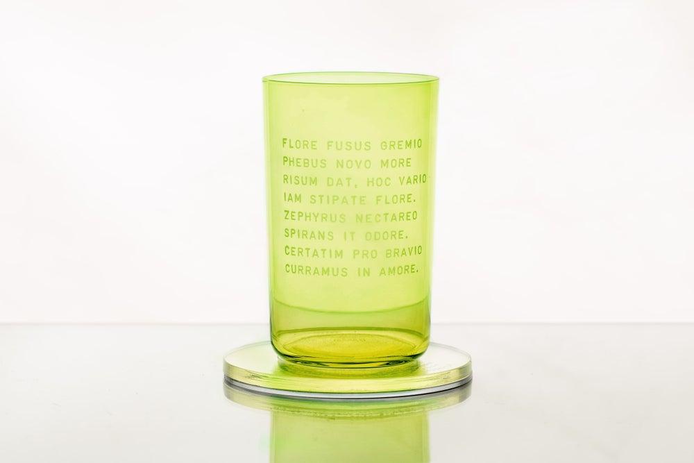 Image of HELIODORUS glass with Latin inscription from CARMINA BURANA