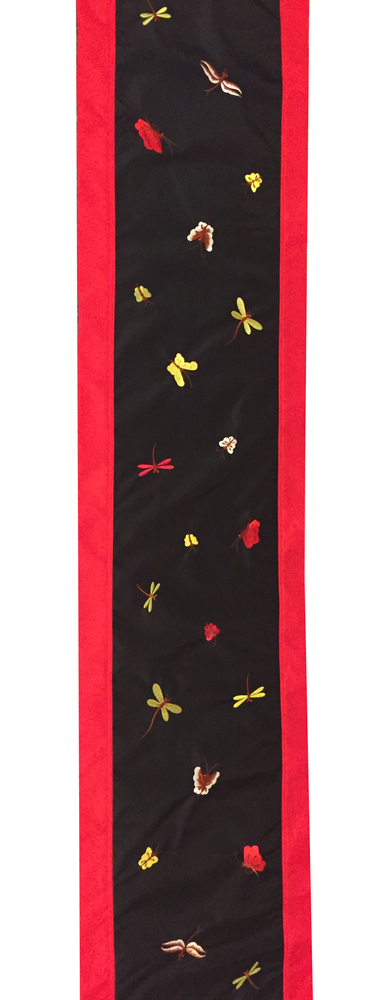 Image of High Quality Silk Table Runner, Red, Black, Gold and White Butterfly Pattern (SVNTR5)