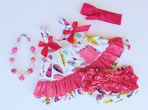 Image of Hot Pink Feather Swing Top with Ruffle Bloomer Bottoms