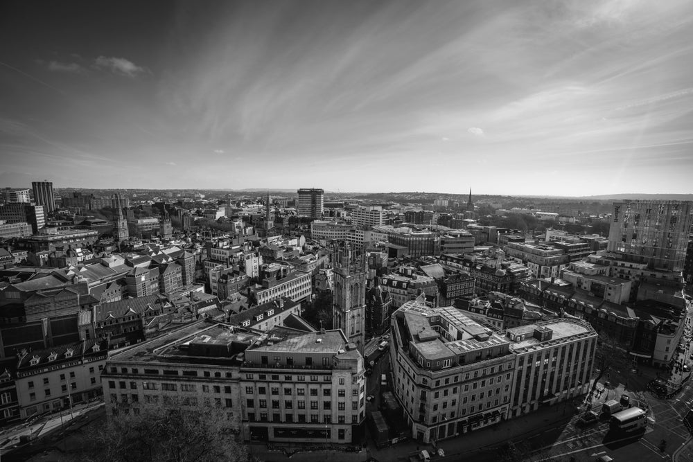Image of Bristol Skyline in Black and White - Print.