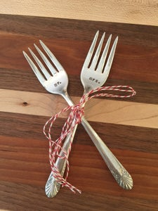 "Image of ""mr. mrs."" Wedding Cake Fork Set"