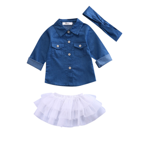 Image of Ruffle Tutu Skirt + Denim Top and Headband