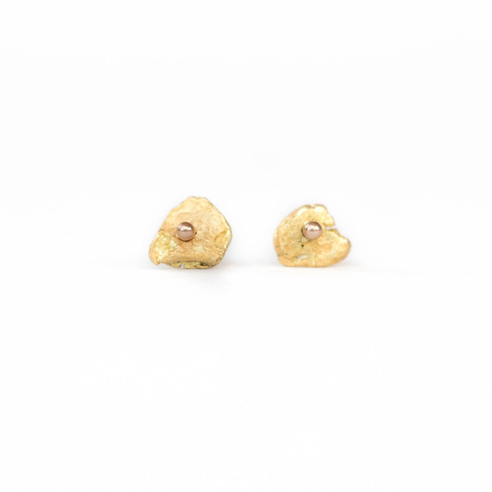Image of Raw Gold Nugget Studs