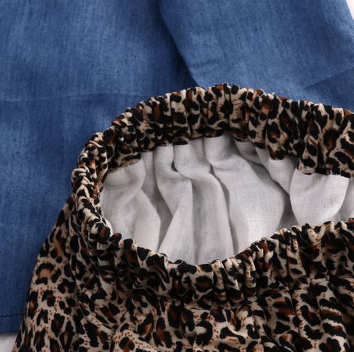 Image of Animal Print Skirt + Denim Top and Headband