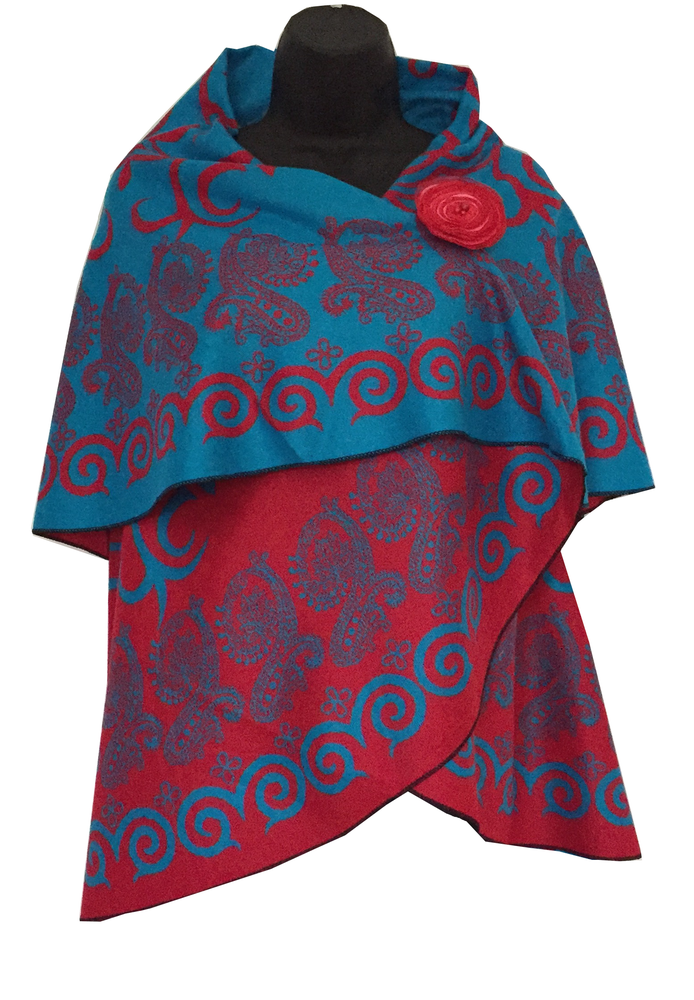 Image of Women's High Quality Shawl (Cape), Blue and Red SVNC12