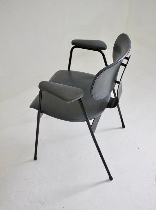 Image of Grey Leather Desk Chair by Van Der Meeren