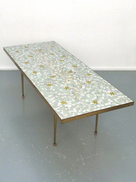 Image of Mosaic Table with Brass Surround, Switzerland 1950s