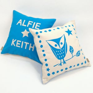 Image of Personalised Owl Print Cushion