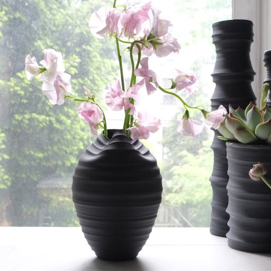 Image of Cocoon Vase, Black Velvet, #748