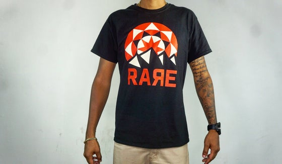 Image of Black Tee Rare Logo Mountains w/ Sunset