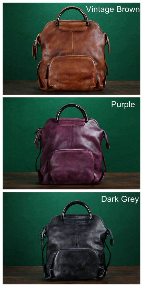 Image of Handmade Full Grain Leather Backpack, Rucksack, Messenger Bag, Shoulder Bag WF57