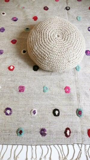 Image of Vintage Moroccan Wool Rug - Circles colored wool