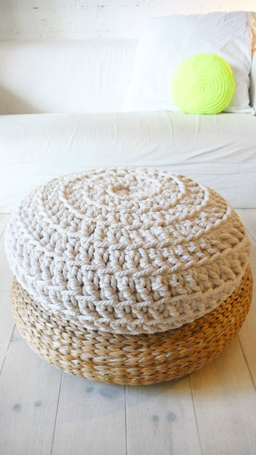 Image of Big Floor Cushion Crochet - Thick Cotton - Ecru