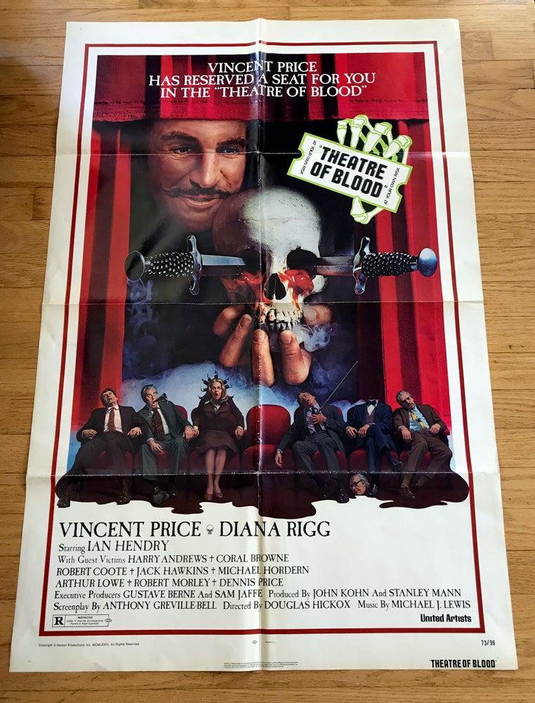 Image of 1973 THEATER OF BLOOD Original U.S. One Sheet Movie Poster