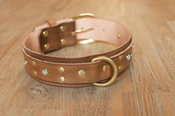 Image of Katie Boxer Double Thickness Decorative Leather Dog Collar