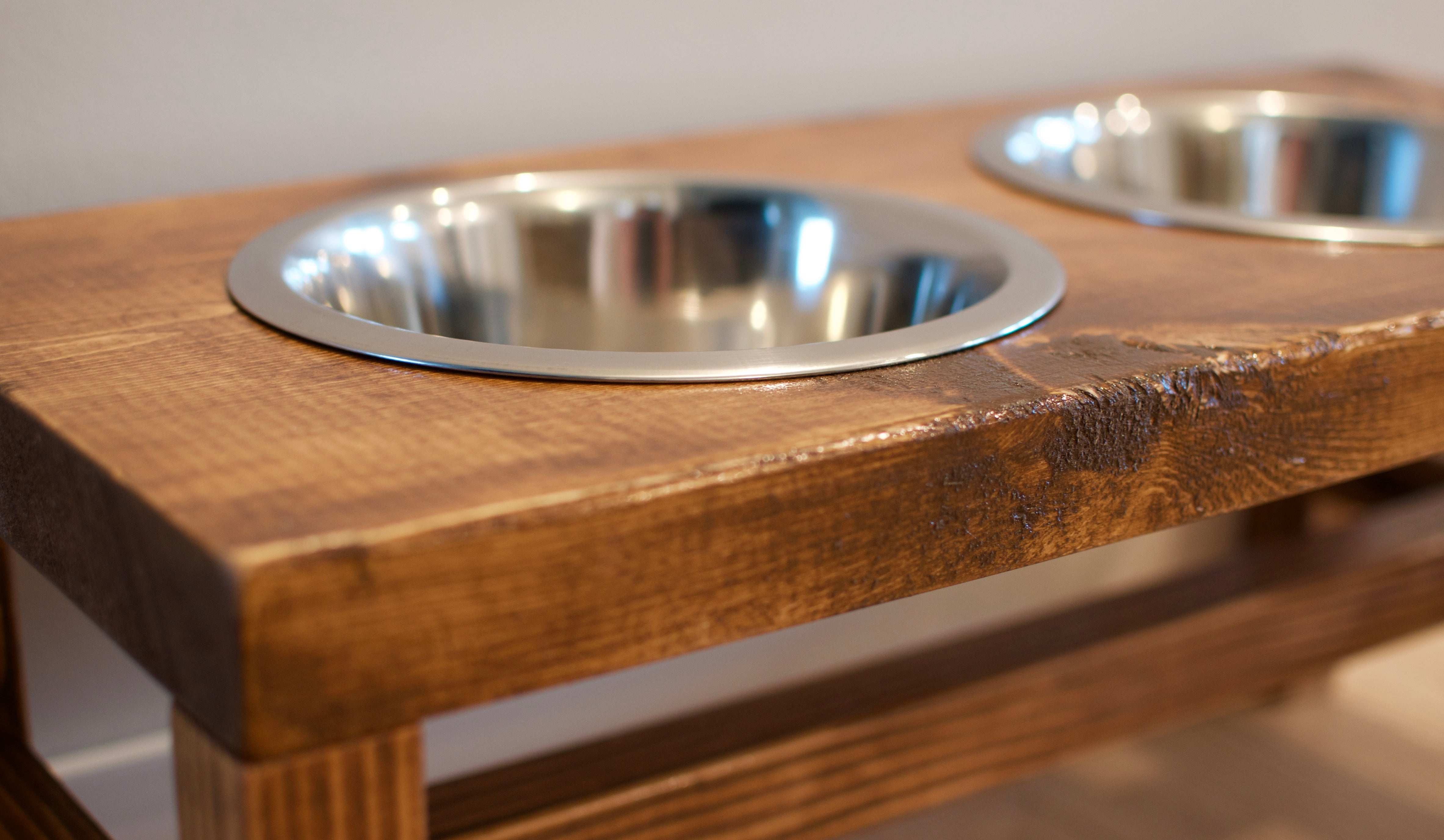 next prev image of rustic raised dog bowl feeders