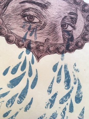 Image of Do You Like It When I Cry? ~ engraving & screenprint