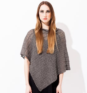 Image of Laceknitted Poncho                                 Grey