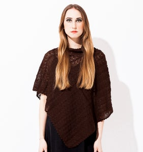 Image of Laceknitted Poncho                         Aubergine