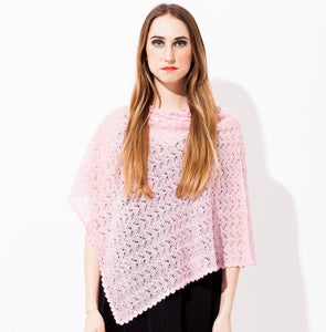 Image of Laceknitted poncho        Pink