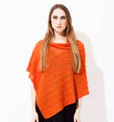 Image of Laceknitted poncho        Orange