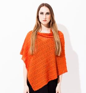 Image of Laceknitted poncho        Orange